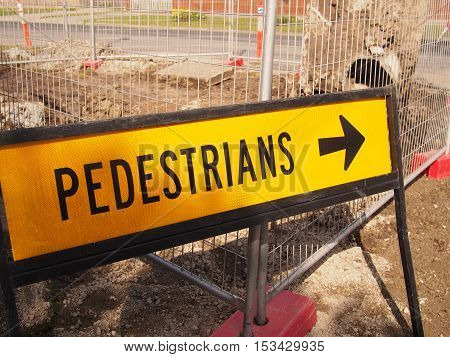 Melbourne Victoria Australia - August 24 2016: Pedestrian sign besides road works in a residential road