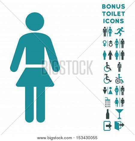 Lady icon and bonus gentleman and lady restroom symbols. Vector illustration style is flat iconic bicolor symbols, soft blue colors, white background.
