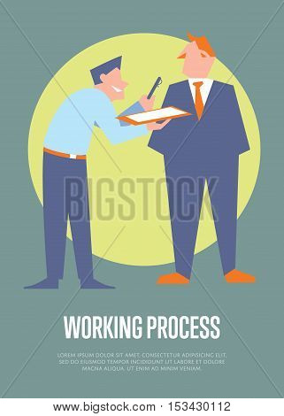 Smiling office clerk giving pen and clipboard his boss for signature. Working process banner, isolated vector illustration on gray background. Office life. Organized work process. Teamwork concept.