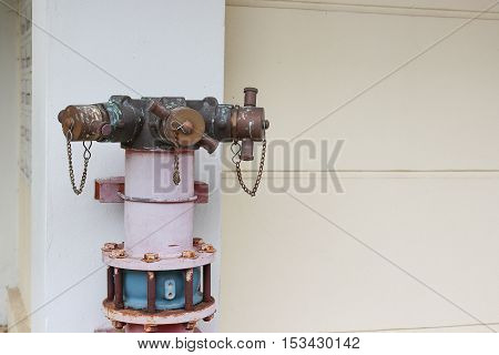 plumbing fire hydrant in a metal line wall fireplug with valves