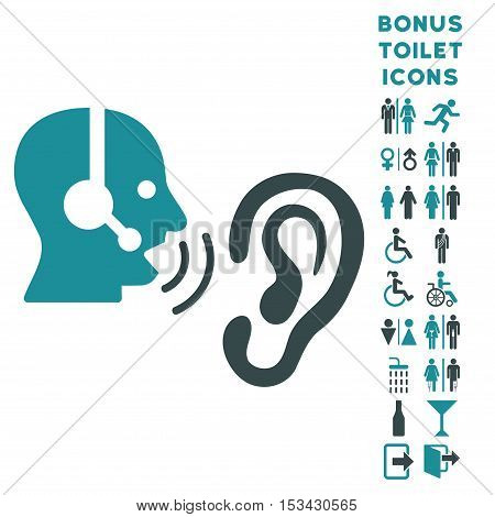 Listen Operator icon and bonus man and lady WC symbols. Vector illustration style is flat iconic bicolor symbols, soft blue colors, white background.