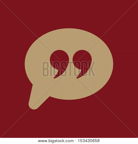 The Quote sign icon. Quotation Mark Speech Bubble symbol. Flat Vector illustration