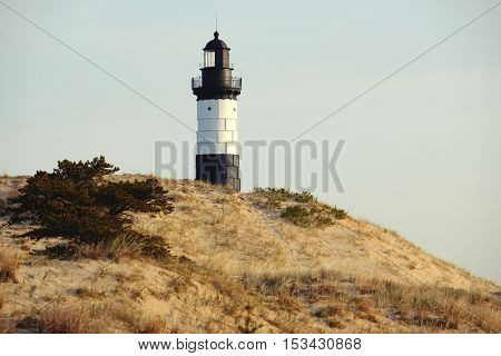 Big Sable Point Lighthouse in dunes, built in 1867, Lake Michigan, MI, USA