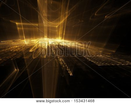 Abstract background element. Three-dimensional composition of wave shapes, grids and beams. Media information concept. Black and yellow colors.