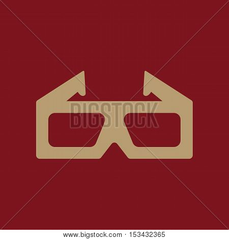 The 3d movie icon. 3D Glasses symbol. Flat Vector illustration