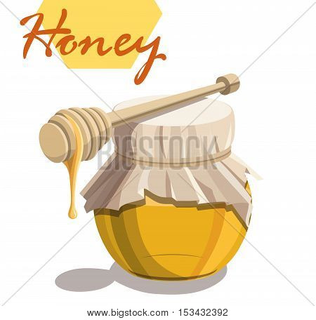 Honey jar and wooden dipper stick . Vector colored illustration on a white background