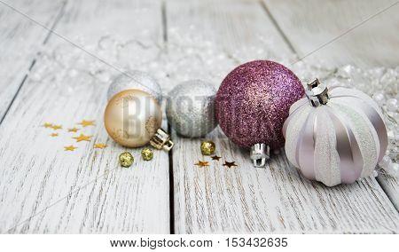 Christmas Balls On A Table