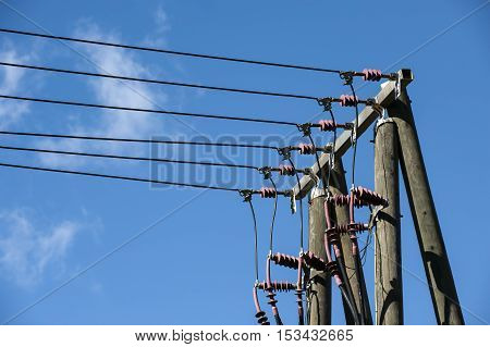 Electric cable pole is providing electic needs.