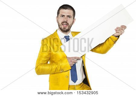 Happy Businessman Shouts Content Of Advertising