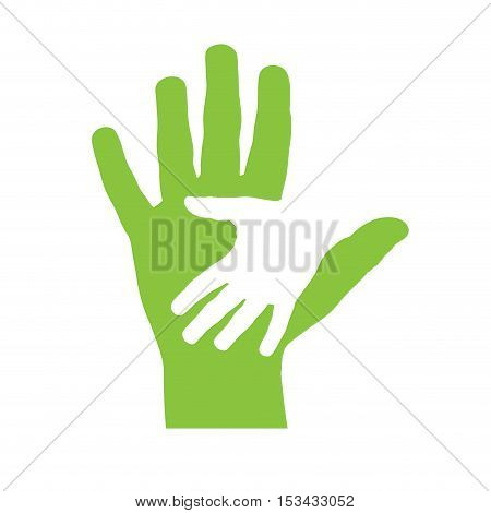 Vector cover two hands, abstract shape, isolated illustration