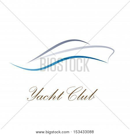 Vector sign yacht and boat, abstract shape, isolated illustration
