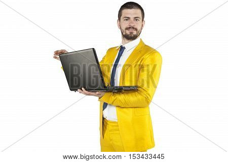 Businessman In A Gold Suit Is A Leader In Your Company