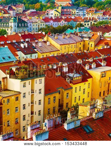 View to the colorful roofs and houses of Vysegrad in Prague, Czech Republic at autumn - aerial image, travel seasonal background
