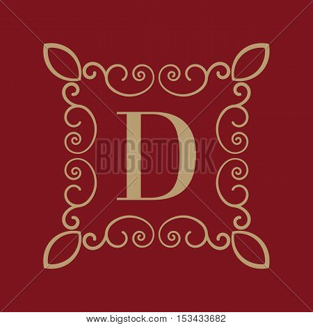 The Monogram letter D. Calligraphic ornament. Gold. Retro, Business and Vintage Concepts. Vector illustration