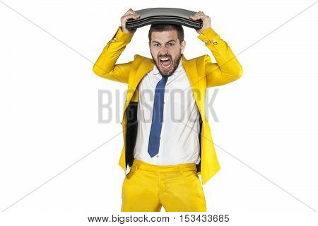 Businessman Breaks The Computer On His Head