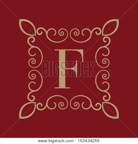 The Monogram letter F. Calligraphic ornament. Gold. Retro, Business and Vintage Concepts. Vector illustration