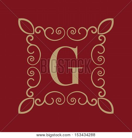 The Monogram letter G. Calligraphic ornament. Gold. Retro, Business and Vintage Concepts. Vector illustration