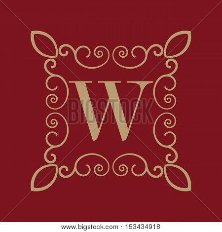 The Monogram letter W. Calligraphic ornament. Gold. Retro, Business and Vintage Concepts. Vector illustration