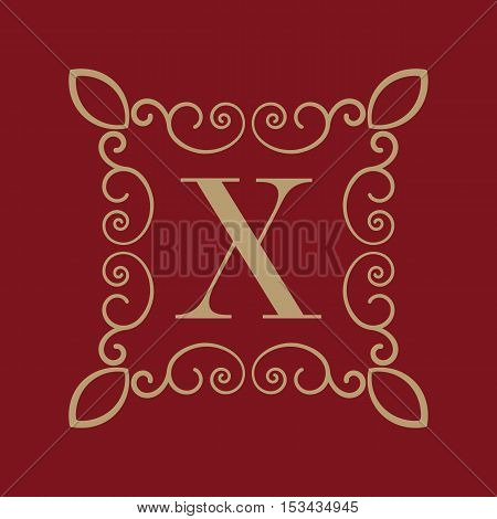The Monogram letter X. Calligraphic ornament. Gold. Retro, Business and Vintage Concepts. Vector illustration