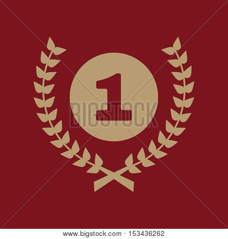 The Award icon. Wreath symbol. Flat Vector illustration