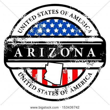Grunge rubber stamp with name of Arizona, vector illustration
