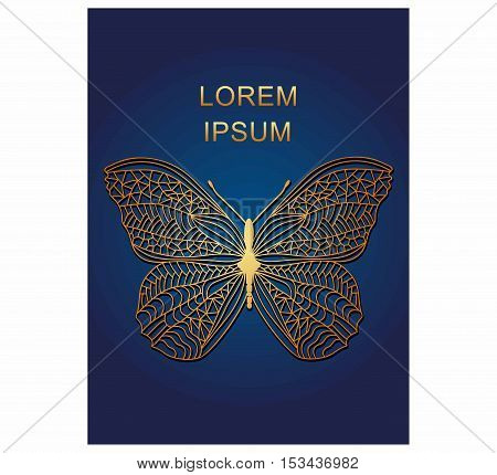 Vector Illustration: Butterfly with patterns. Golden butterfly.