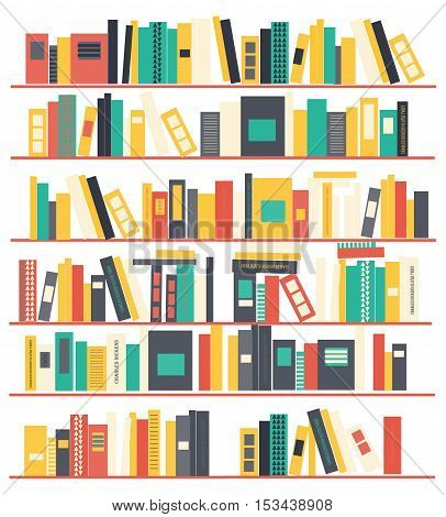 Bookshelves with books. Flat design. Vector background