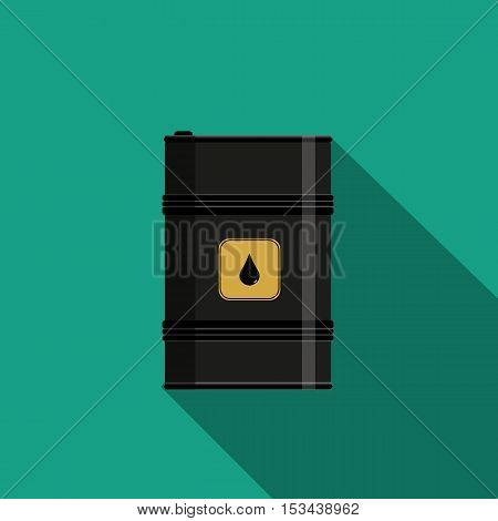 Flat style with long shadows, oil barrel vector icon illustration.