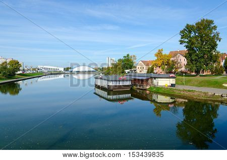 MINSK BELARUS - OCTOBER 1 2016: View of Trinity Suburb and Svisloch River Minsk Belarus