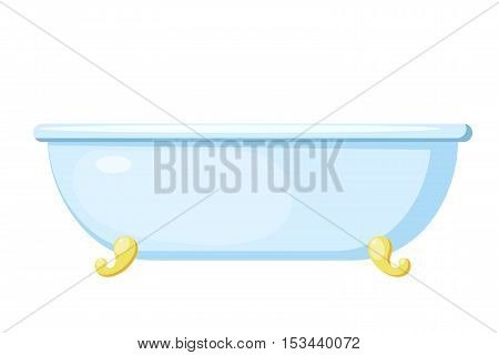 Vector illustration of a bath. Cartoon bath on a white background. Isolated object. Image blue with gold bath stand