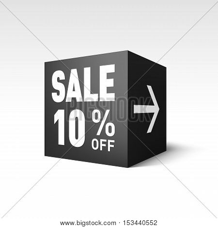 Black Cube Banner Template for Holiday Sale Event. Ten Percent off Discount