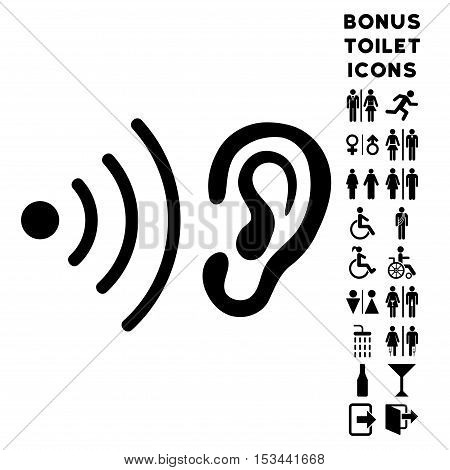 Listen News icon and bonus male and woman lavatory symbols. Vector illustration style is flat iconic symbols, black color, white background.