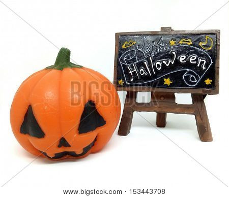 Halloween Pumpkin and wood cutout with word on white background.