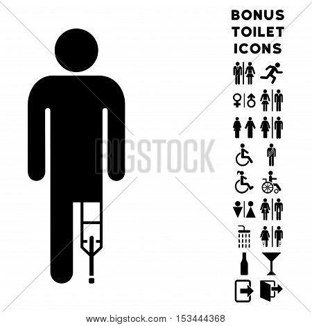 Patient Man icon and bonus gentleman and female restroom symbols. Vector illustration style is flat iconic symbols, black color, white background.