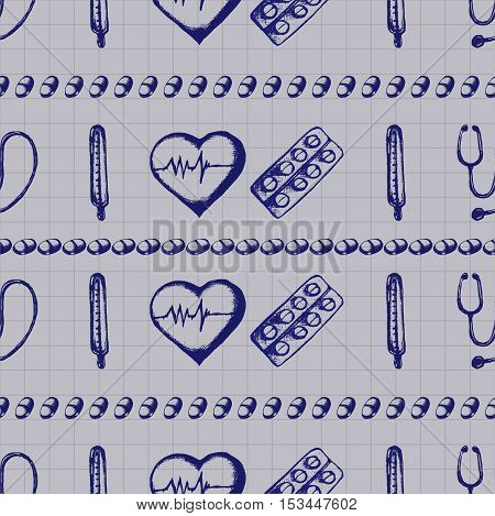 Healthcare and medicine. Vector doodle seamless pattern with thermometer, heart, cardiogram, stethoscope and pills. Medical hand drawn icons on checkered background.