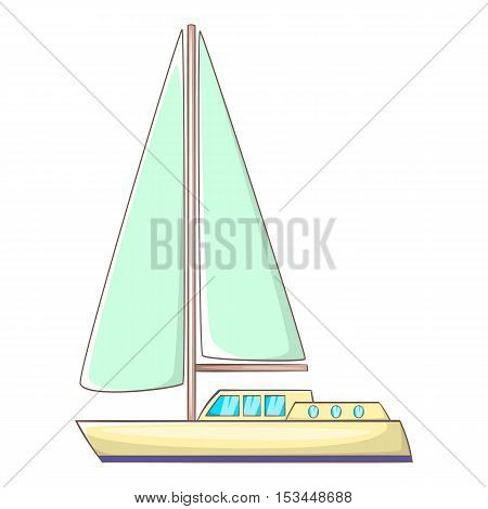 Sailing yacht icon. Cartoon illustration of sailing yacht vector icon for web