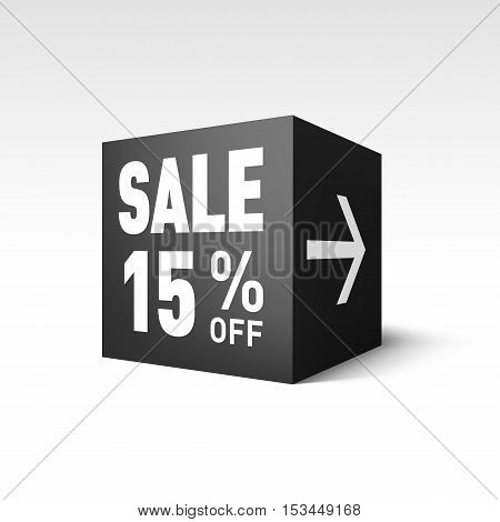 Black Cube Banner Template for Holiday Sale Event. Fifteen Percent off Discount