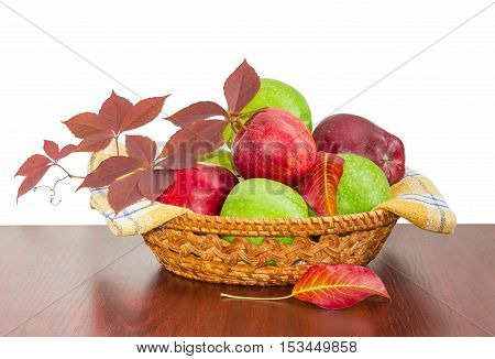 Pile of a red and green apples on a cotton checkered napkin and branch of ivy in a small wicker basket on a wooden table on a light background