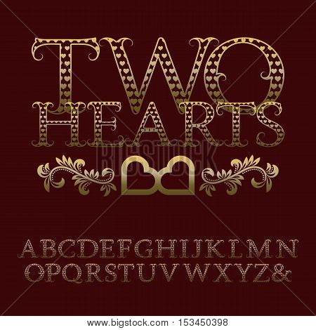 Gold patterned letters with tendrils. Vintage font in romantic style. Isolated english alphabet with text Two Hearts.