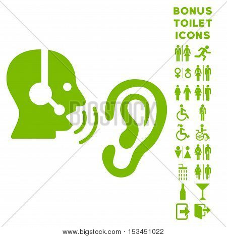 Listen Operator icon and bonus gentleman and female lavatory symbols. Vector illustration style is flat iconic symbols, eco green color, white background.