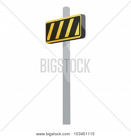 Road sign yellow and black stripes icon. Cartoon illustration of road sign yellow and black stripes vector icon for web