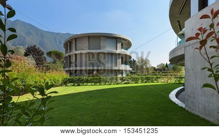 Modern architecture, residential  building with garden