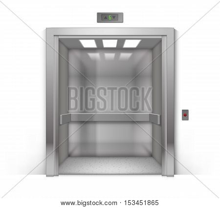 Vector Realistic Open Chrome Metal Office Building Elevator Isolated on Background