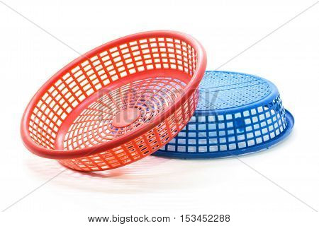 Plastic small color basket isolate on white background