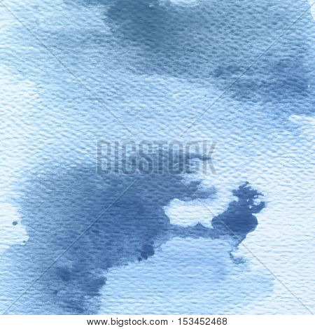 Blue splash, abstract hand painted illustration. Riverside tint watercolor background.
