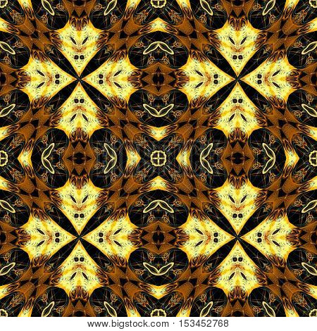Computer generated illustration with multicolour abstract kaleidoscope pattern.