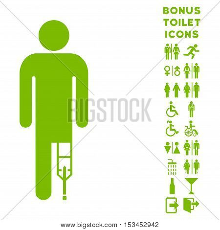 Patient Man icon and bonus gentleman and woman restroom symbols. Vector illustration style is flat iconic symbols, eco green color, white background.