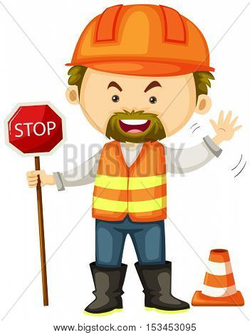 Road worker with stop sign illustration