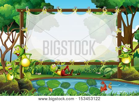 Frame design with frogs in the pond illustration