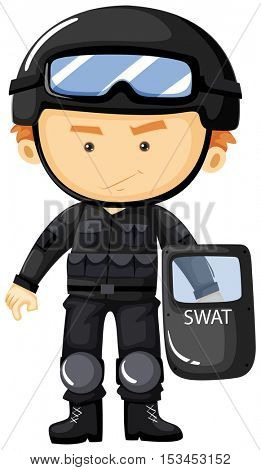 SWAT in black safety suit illustration